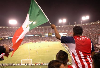 Chivas Fan with Mexican Flag