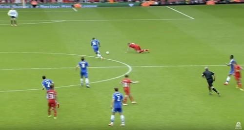 Liverpool's Steven Gerrard Slips
