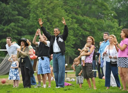 Obama Watches Soccer Game