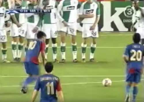 Ronaldinho Under the Wall Goal