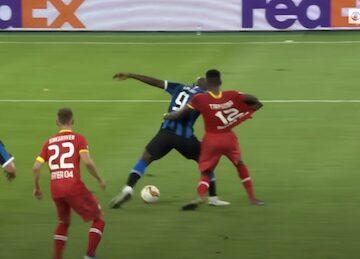 Romelu Lukaku Scores Falling Down