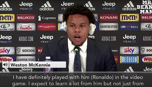 McKennie Played Video Games as Cirstiano Ronaldo