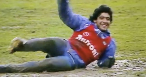 Maradona Playing in Mud